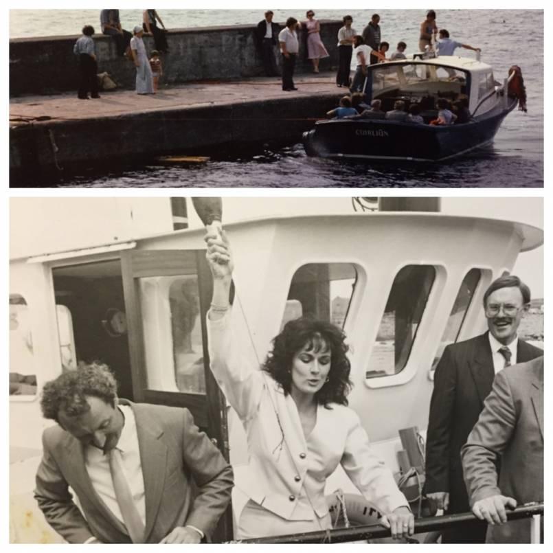 Michelle Rocca launches the Doolin Ferry Company boat with Bill O'Brien