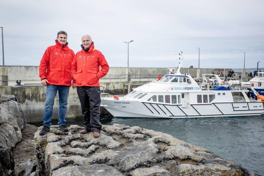 Liam O'Brien and Bill O'Brien at Doolin Pier launching the new Aran Islands Ferry