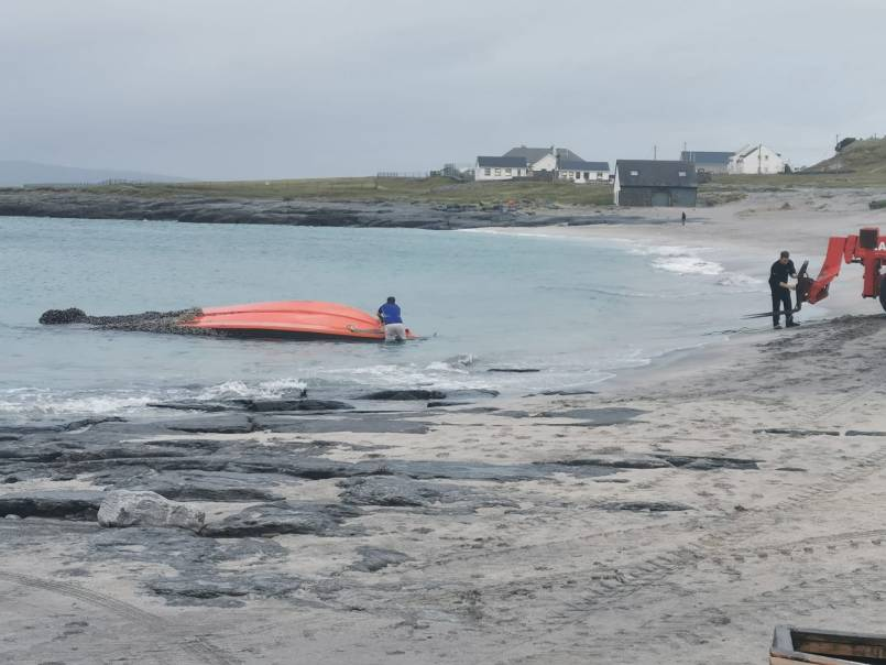 US Navy boat found on upturned on Inis Oirr beach, Aran Islands.