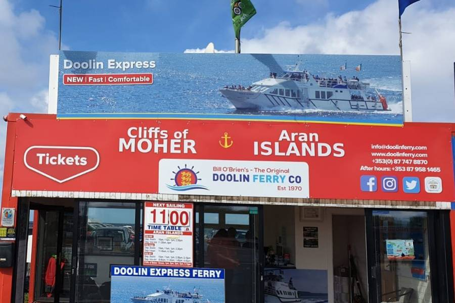Doolin Ferry to Aran Islands and Cliffs of Moher Cruise Ticket Office at Doolin Pier