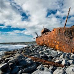The Plassey Shipwreck on Inis Oirr, Aran Islands.