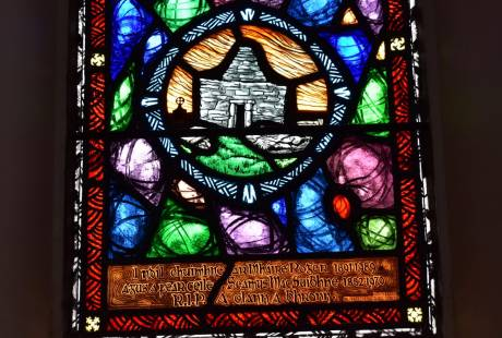 Harry Clark Stained Glass Window in the church on Inis Meain, Inishmaan