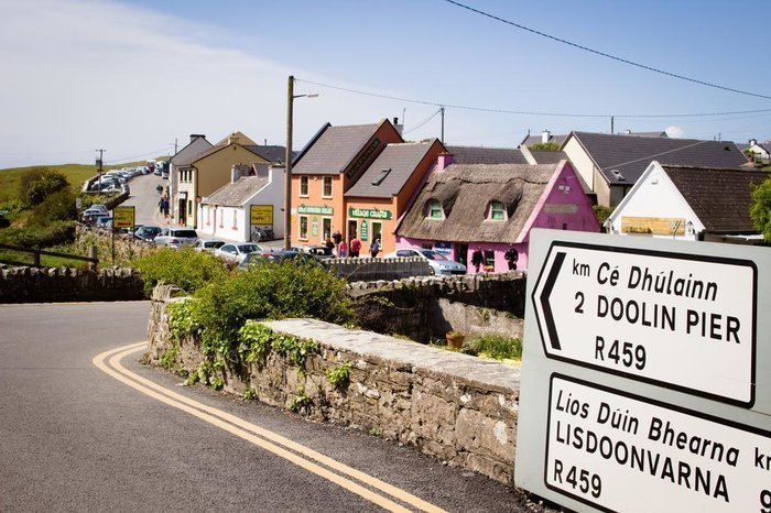 Fisheer Street in Doolin road sign pointing to Doolin Pier