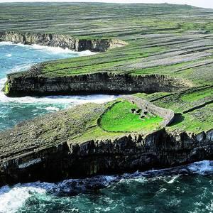 Dun Duchathair Fort on Inis Mor, Aran Islands, aerial view