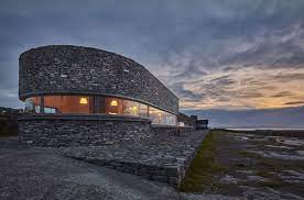 Inis Meain Restaurant and Suites on Aran Islands at sunset